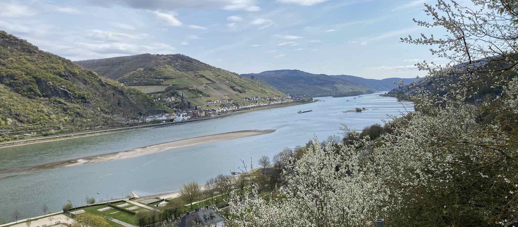 Blick auf den Rhein von Burg Stahleck